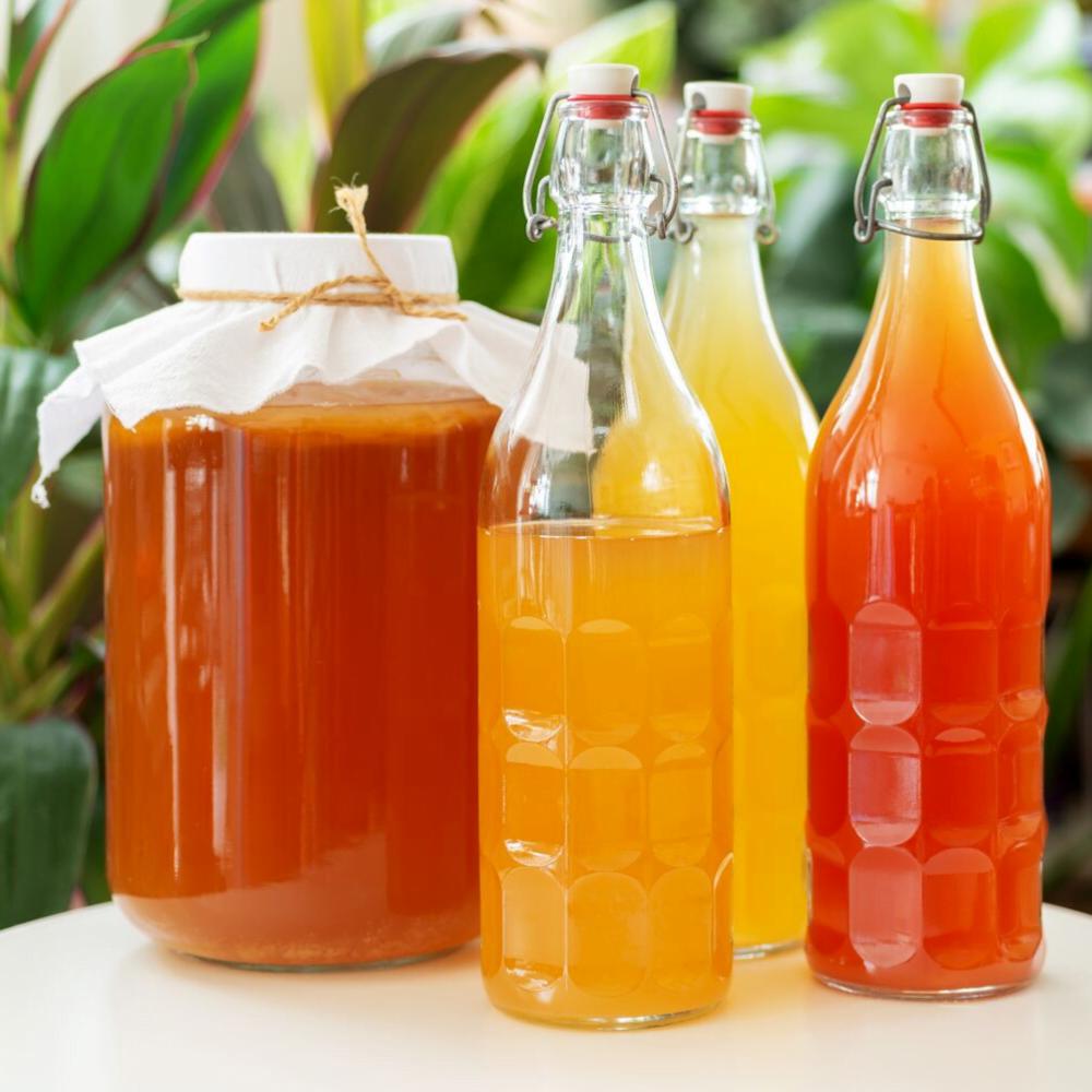 kombucha jar with bottles