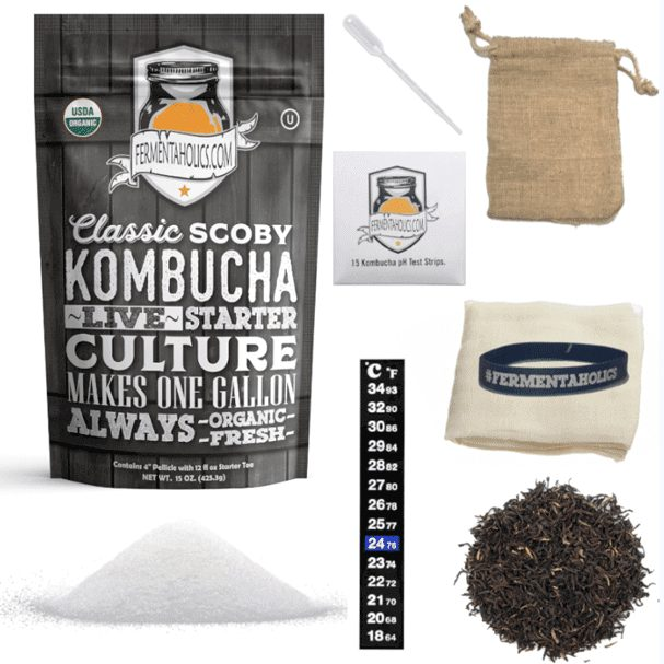 The Fermentaholics Organic Starter Pack Comes Everything you Need to Brew a Batch of Kombucha.